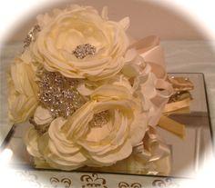 Bridal Brooch Bouquet, Bridal Heirloom Bouquet, Wedding Bouquet, Bridesmaid Bouquet, Flower Girl Bouquet, Communion Bouquet $250.00, via Etsy.