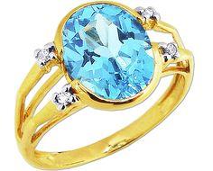 14K Yellow Gold Split-side Oval Swiss Blue Topaz Ring with Diamonds