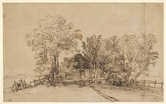 """Rembrandt van Rijin (Dutch, 1606-1669). Cottage among Trees, ca. 1650s. Pen and brown ink, brush and brown wash, on paper washed with brown. The Metropolitan Museum of Art, New York. H. O. Havemeyer Collection, Bequest of Mrs. H. O. Havemeyer, 1929 (29.100.939) 