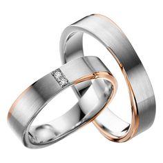 Marke: Rubin Trauringe Artikelnummer: MR-A42 Oberfläche: Weißgold/ Rotgold längsmatt, Streifen glänzend Breite: 5,00 mm Stärke: 1,60 mm Diamant: 2x Brillanten insgesamt 0,02 ct Steinqualität: Tw.Si... Engagement Rings Couple, Rose Gold Engagement, Couple Rings, Vintage Engagement Rings, Solitaire Engagement, Couples Ring Tattoos, Couple Ring Design, Ring Verlobung, Dream Ring