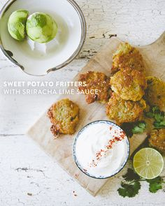 SWEET POTATO FRITTERS WITH SRIRACHA LIME SAUCE // The Kitchy Kitchen @mccormickspice #ad