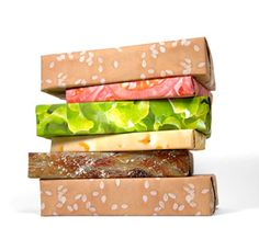 """cheeseburger wrapping papper kickstarter: """" Gift Couture make themed wrapping paper sets. The Cheeseburger (above) includes five different wrapping paper designs: a bun, hamburger patty, cheese,. Creative Gift Wrapping, Gift Wrapping Paper, Wrapping Ideas, Creative Gifts, Wrapping Papers, Creative Package, Creative Ideas, Creative Products, Creative Studio"""