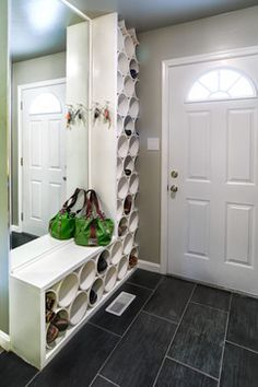 PVC pipe repurposed into shoe organization. Easy to wipe clean as opposed to traditional cloth hanging shoe organizer Shoe Storage Solutions, Diy Shoe Storage, Diy Shoe Rack, Storage Ideas, Tool Storage, Shoe Racks, Storage Design, Garage Storage, Shoe Storage Tower
