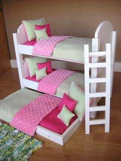 Deluxe Small Bunk Bed Design For Teenage Girl with Cream Wall Paint Color and Wooden Floor also Calm White Ladder Set and Cute Pink-White Cushions also Modern Square Fur Carpet Area