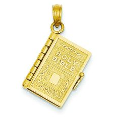 14K Yellow Gold Holy Bible Book Lords Prayer Charm >>> You can get additional details at the image link.