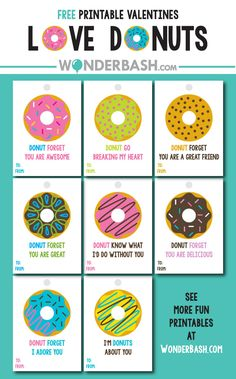 Donut Valentine's Labels Free Download Printable
