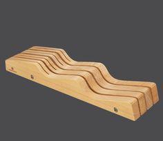 Zassenhaus Messer-Schubladeneinsatz aus nachhaltig angebautem Buchenholz oder Nussbaumholz, Design-Messerblock für die Schublade Länge: 42 Breite: 10 Höhe: 5 cm