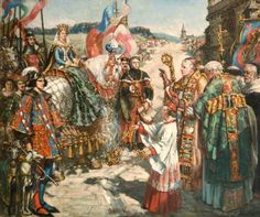 A splendid image of Joan of Navarre's arrival in England to wed Henry IV. Historically inaccurate but full of life and colour. Painted by Francis Henry Newbery 1924 and in Bridport Town Hall.