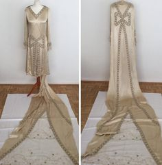Vintage 20s Wedding Dress with Train Court by BonnieInDisguise