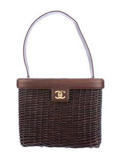 Chanel Vintage Rare Raffia Wicker Handbag Brown Satchel.