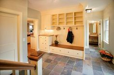 Spacious Mudroom with Built-In Cabinets