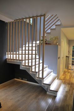 59 Ultimate Farmhouse Staircase Decor Ideas And Design Modern Stair Railing, Stair Railing Design, Modern Stairs, House Staircase, Staircase Railings, Staircase Ideas, Escalier Design, Casas Containers, Staircase Makeover