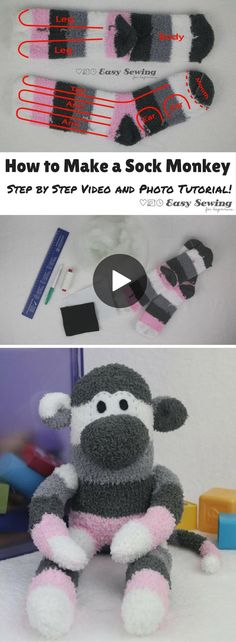 How to Make a Sock Monkey with a Sock Monkey Pattern PDF! - Easy Sewing For Beginners - Veronika Bür - How to Make a Sock Monkey with a Sock Monkey Pattern PDF! - Easy Sewing For Beginners How to make a sock monkey video tutorial - Sock Monkey Pattern, Sock Monkey Baby, Sewing Stuffed Animals, Stuffed Toys Patterns, Sock Stuffed Animals, Sock Animals, Animals For Kids, Easy Animals, Crochet Animals