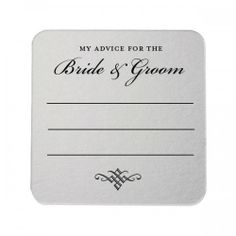 My Advice for the Bride and Groom Square Foil Stamped Coasters by Tea and Becky Invitations www.teaandbecky.com