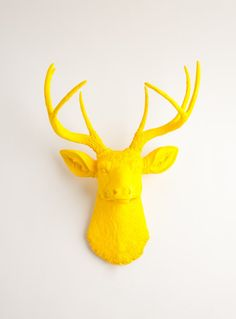 Faux Taxidermy Yellow Resin Deer Head    This piece of wall art is sure to make your friends and family stop and stare because not everyone