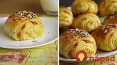 Maslové mini roky so šunkou Baked Potato, Hamburger, Pizza, Potatoes, Bread, Baking, Mini, Ethnic Recipes, Food
