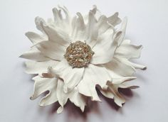 White leather flower brooch Leather flower pin by JewelryWithTaste