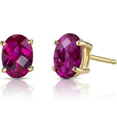 14K 14ct Yellow Gold 1.6 Ct Lab Ruby Stud Earrings Oval Cut 7 x 5 mm E19086