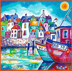 1001kleuren.nl > Schilderijen > Buitenland > vissersdorp boten