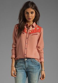 MAISON SCOTCH Western Shirt in Dusty Rose - Button Downs
