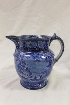 Lot: Blue and White Historical pitcher with transfer decorat, Lot Number: 0310A, Starting Bid: $50, Auctioneer: Mark Mattox Real Estate & Auctioneer, Auction: Annual New Year's Antiques Auction, Date: December 31st, 2016 EST