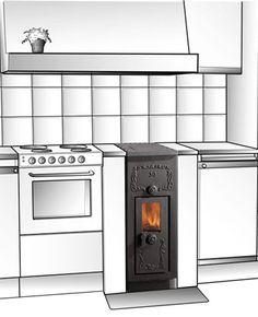 Westbo Ankarsrum cucina svedese in ghisa di ridottissime dimensioni incassata in basamento di muratura. Versione con decori.