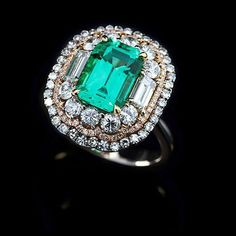Emerald No Oil from Columbia in IVY Diamond Ring ~ www.ivynewyork.com