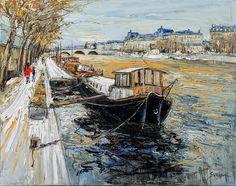 """Jean-Paul SURIN """"La Seine au musée d'Orsay"""" Huile sur toile   92x73 Erin Hanson, Edouard Vuillard, Galerie D'art, Post Impressionism, French Artists, Beautiful Paintings, Watercolor, Sweden, Landscapes"""