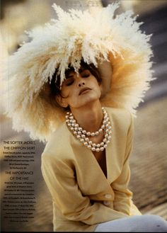 I love this hat, not that I'd wear it but it's different Stephen Jones Millinery. Vogue, Feb 1990.
