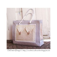 (4) Name: 'Crocheting : Shopping Bag with 3 Pockets Large