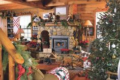 Couple makes spacious log cabin cozy for the holidays
