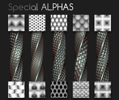 Pack of 10 Tileables Alphas (1024x1024px), abstract, scales and weave effects. Enjoy! https://gumroad.com/l/fFKse