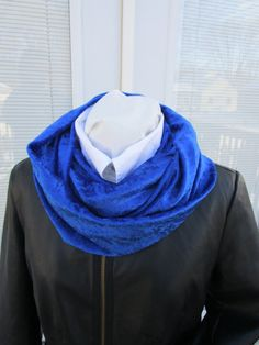 royal blue crushed penne velvet infinity scarf, winter scarf