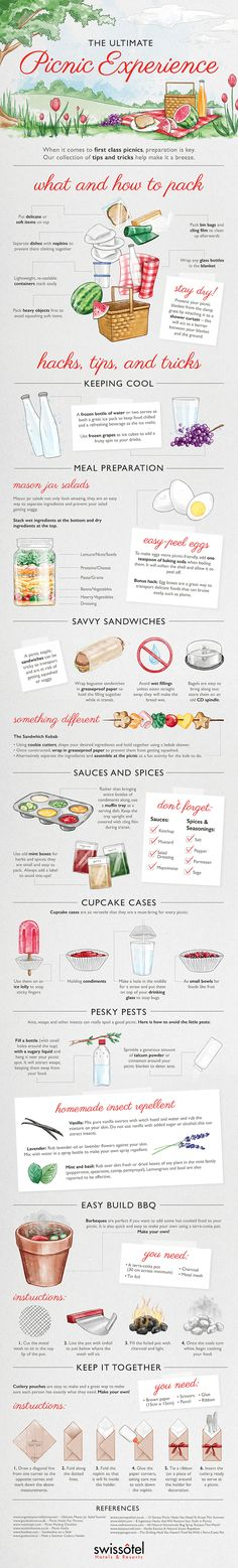 Top tips and food hacks for creating the ultimate summer picnic. #Infographic #PicnicBaskets