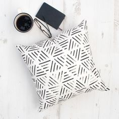 Liven up your home with this black & white geometric cushion cover. Stunning hand painted artwork is digitally printed on natural Cotton fabric then Individually cut and sewn by hand. The pillow cover features a double-sided print and is finished with a concealed zipper for ease of care. This pillow cover is a great addition to your monochrome home decor.  C O V E R _ D E T A I L S:  - Pillow cover size 17 x 17 - Same fabric & design used for both sides. - Natural 100% Cotton fabric -...