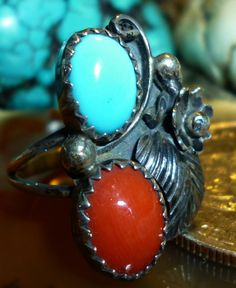 Darling 1960s ring has never been worn! RARE New Old Stock: Red Branch Coral & Blue Turquoise Sterling Navajo Ring Sz 5 1960s is only $54.95 - grab it and treasure it.