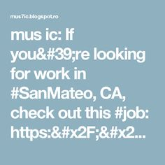 mus ic: If you're looking for work in #SanMateo, CA, check out this #job: https://t.co/urCb5GqdlW #PlayStation #PS4 #Music #Hiring