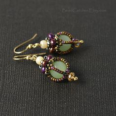 These earrings are part of my new collection, which is inspired by vintage Victorian post cards and they came out exactly as I imagine them to be: antique looking, very elegant and feminine. Earrings are in mauve/gold/green color combination. Made of Czech glass beads and tiniest Japanese