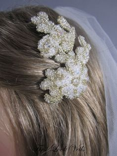 Jeweled Bridal Comb with Glass beads #firstlookveils