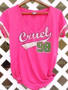 CRUEL GIRL Size M Pink Green Distressed Graphics T Shirt V Neck Jersey Style  #CruelGirl #VneckTShirt #Casual Sold