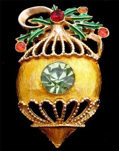 Holly Berry Christmas Ball Ornament Red Green Enamel Vintage Brooch Figural Pin | eBay