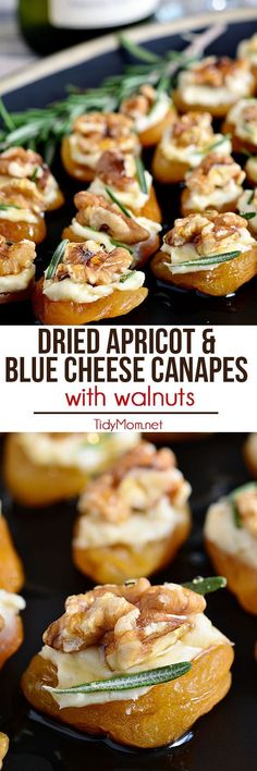 Dried Apricot Blue Cheese Canapes with Walnuts Making a delicious appetizer for a party doesn't have to be a struggle! Dried Apricot and Blue Cheese Canapes with Walnuts come together in no time. They are simple, yet elegant enough for any kind of party. Finger Food Appetizers, Yummy Appetizers, Appetizers For Party, Finger Foods, Appetizer Recipes, Halloween Appetizers, Avacado Appetizers, Prociutto Appetizers, Mexican Appetizers