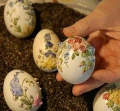Ribbon embroidery done on eggs - I will need to read up on this one, pretty, but may be a challenge.