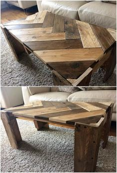 Installing a stylish chevron table in your house is always the best option when it comes to adornment of the lounge areas. This wood pallet reusing idea gives you an interesting concept of the chevron Wooden Pallet Projects, Wood Pallet Furniture, Woodworking Furniture, Wooden Pallets, Furniture Projects, Diy Furniture, Pallet Ideas, Fine Woodworking, Furniture Stores