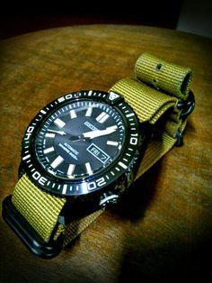 SEIKO SKZ329J1(cal:7S36) and NATO TYPE ballistic nylon watch belt