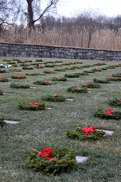 Finn's Point National Cemetery New Jersey some are flat stones. Wreaths Across America Day, Veterans Cemetery, Wreaths Across America, Flat Stone, National Cemetery, Stones, Outdoor Decor, Rocks, Rock