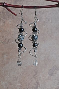 wire floating earrings spiral tutorial | Copper Wire Earrings Silver Spiral Cage by JeanneAshleyJewelry
