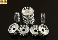 50 pcs of Rhinestone rondelle round copper spacer beads,silver plated crystal beads,NO.61