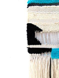 #detail #weaving #black #white #rope #cotton #wool #blue #turquoise #handmade #gift #geometric #weft #warp #art #loom #yarn #wool #cotton #1 #no1 #black #white #natural #fringe #turquoise #handmade