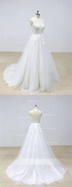dbf3c9de46e8 Sexy Ivory V Neck Open Back A Line Empire Waist Wedding Dresses Tulle Bride  Gown #